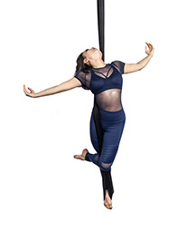 the aerial hammock is derived from aerial silks with the fabric forming a sling instead of two separate silk poles  while aerial yoga is a growing fitness     aerial  rh   aerialandfloor   sg